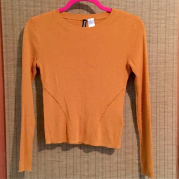 ff6be9b653cee6 H M Dark Yellow Orange Ribbed Long Sleeved Top